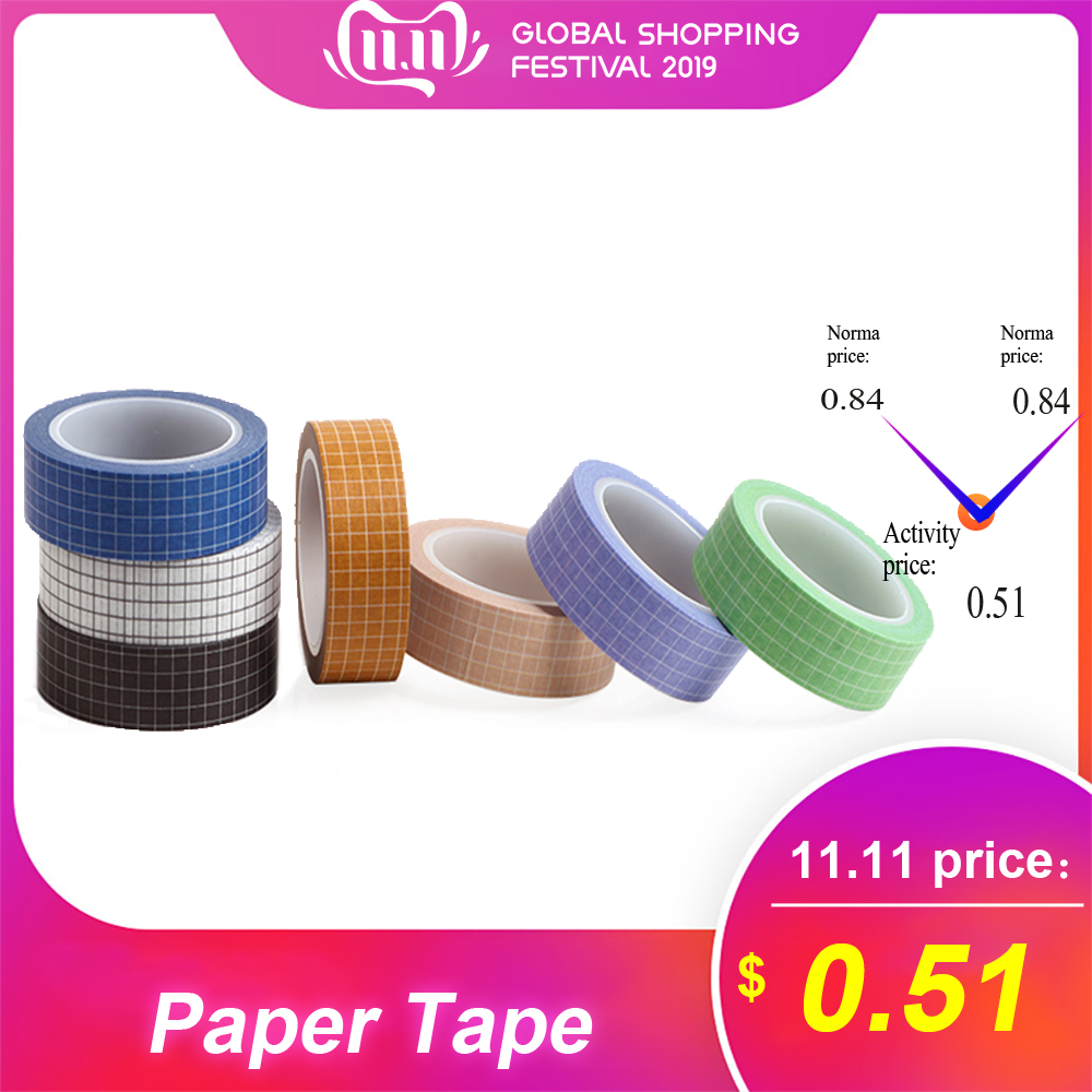 7colors Plaid Decorative Masking Paper Tape 15mm×10m Grid Printed Pattern Pure Color Washi Tape Sticky Adhesive Paper For DIY