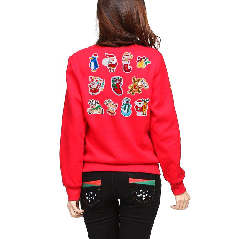 11pcs set Christmas Series Clothes Patch Embroidery Motifs Applique Iron Sew On Badge DIY Craft in Patches from Home Garden