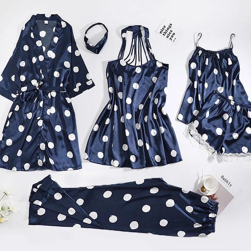 6PCS frauen Pyjamas Sets Weiche Pyjama Dot Muster Frauen Nachtwäsche Sets Weibliche Satin Frühling Herbst Homewear Sexy Robe nachtwäsche