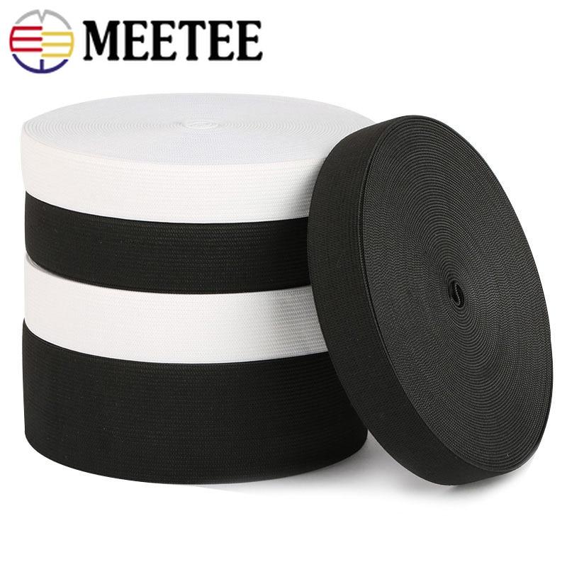 5Yards 10-60mm Verdicken Elastische Bands Schwarz Weiß Nylon Elastische Gummi Kleidung Taschen Taille Gummiband DIY nähen Zubehör