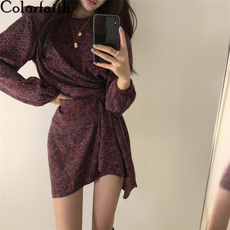 Colorfaith New 2020 Women Summer Dresses Casual High Waist Dot Vintage Fashionable Pleated Irregular Sashes Mini Dress DR9973