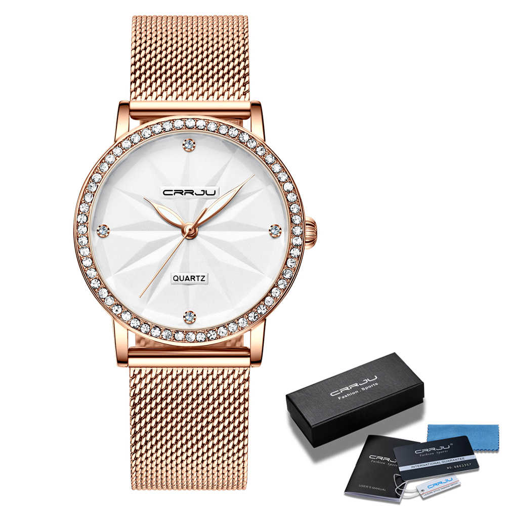 นาฬิกาสำหรับสตรีCRRJUผู้หญิงหรูหราเพชรนาฬิกาสุภาพสตรีนาฬิกาข้อมือควอตซ์กันน้ำนาฬิกาRelogio Feminino