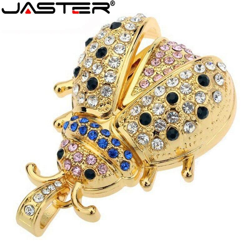 JASTER Creative Fashion Metal Flash Drive Beetle Usb 100% Actual Capacity Flash Card Copper Key Usb 2.0 64GB 32GB 16GB 8GB 4GB
