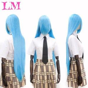 Lm moda mais cor cosplay lolita peruca para mulher longa afro fácil de combinar anime festa ombre loira perucas sintéticas com franja