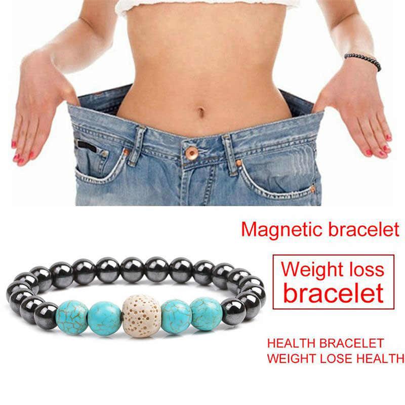 1 adet kilo kaybı taş manyetik terapi zayıflama bilezikler sağlık manyetik hematit streç boncuklu bilezikler erkekler kadınlar için