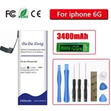 דה דה Xiong 3400mAh קיבולת גבוהה סוללה עבור iPhone 6 עבור iphone 6G סוללה משלוח כלים
