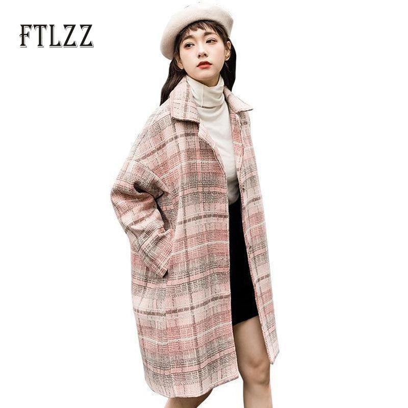 New spring autumn vintage plaid wool coat women casual loose Single breasted medium long coat ladies korean style pink outerwear