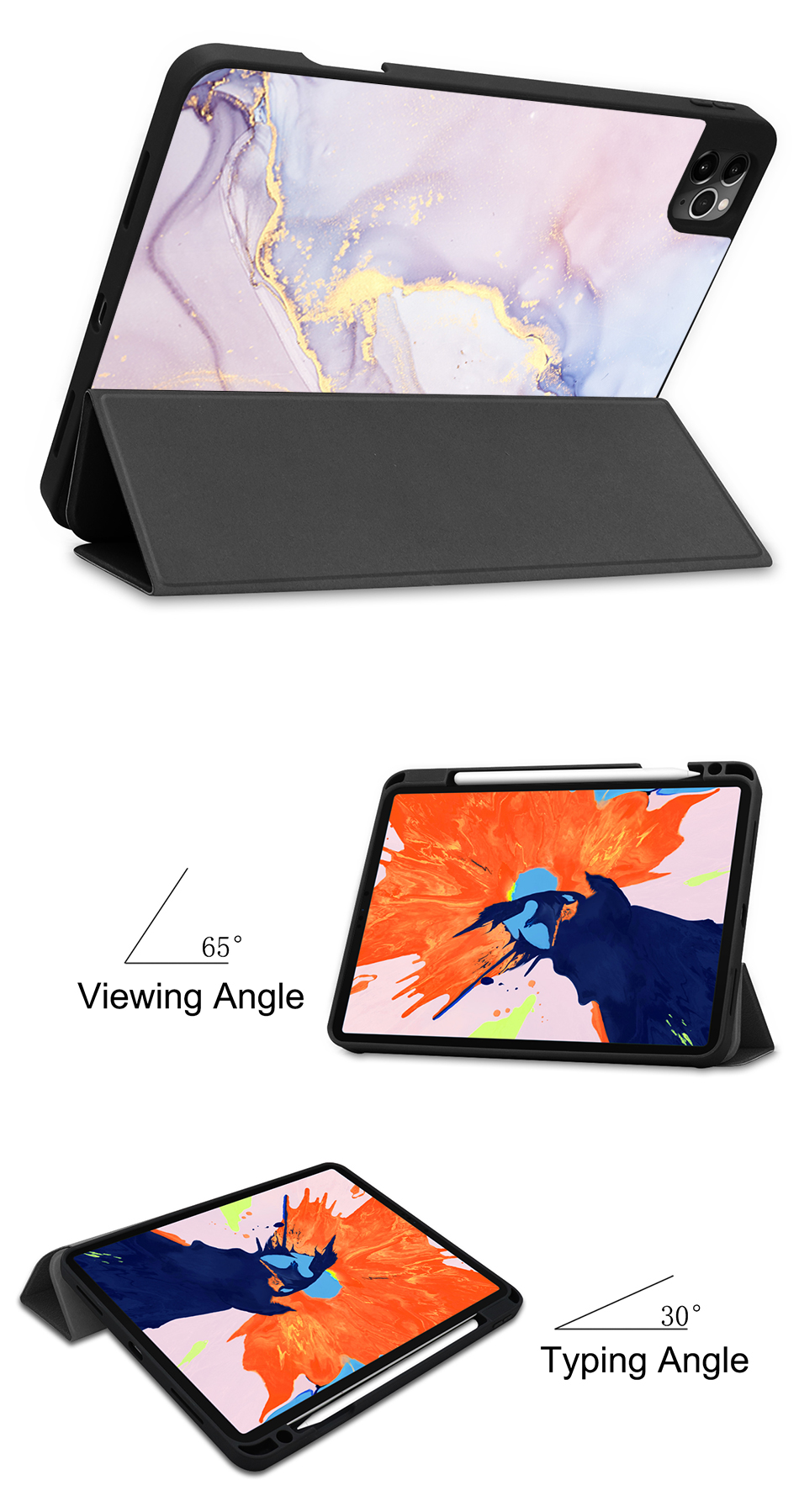 4th For Soft MTT 2020 Pro Stand Flip Case TPU+PU Leather Tablet Generation inch iPad 12.9