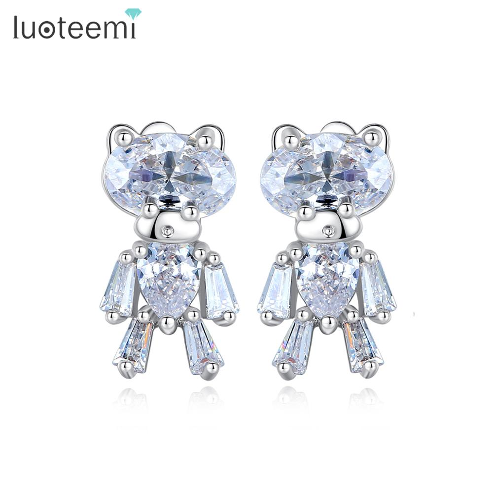 LUOTEEMI Cute Small Bear CZ Stud Earrings For Women Wedding Engagement Fashion Jewelry Party Brincos Bijoux Femme Christmas Gift