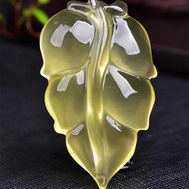Fine JoursNeige jaune naturel cristal pendentif collier sculpté à la main feuille pendentif chandail chaîne collier chanceux riche bijoux