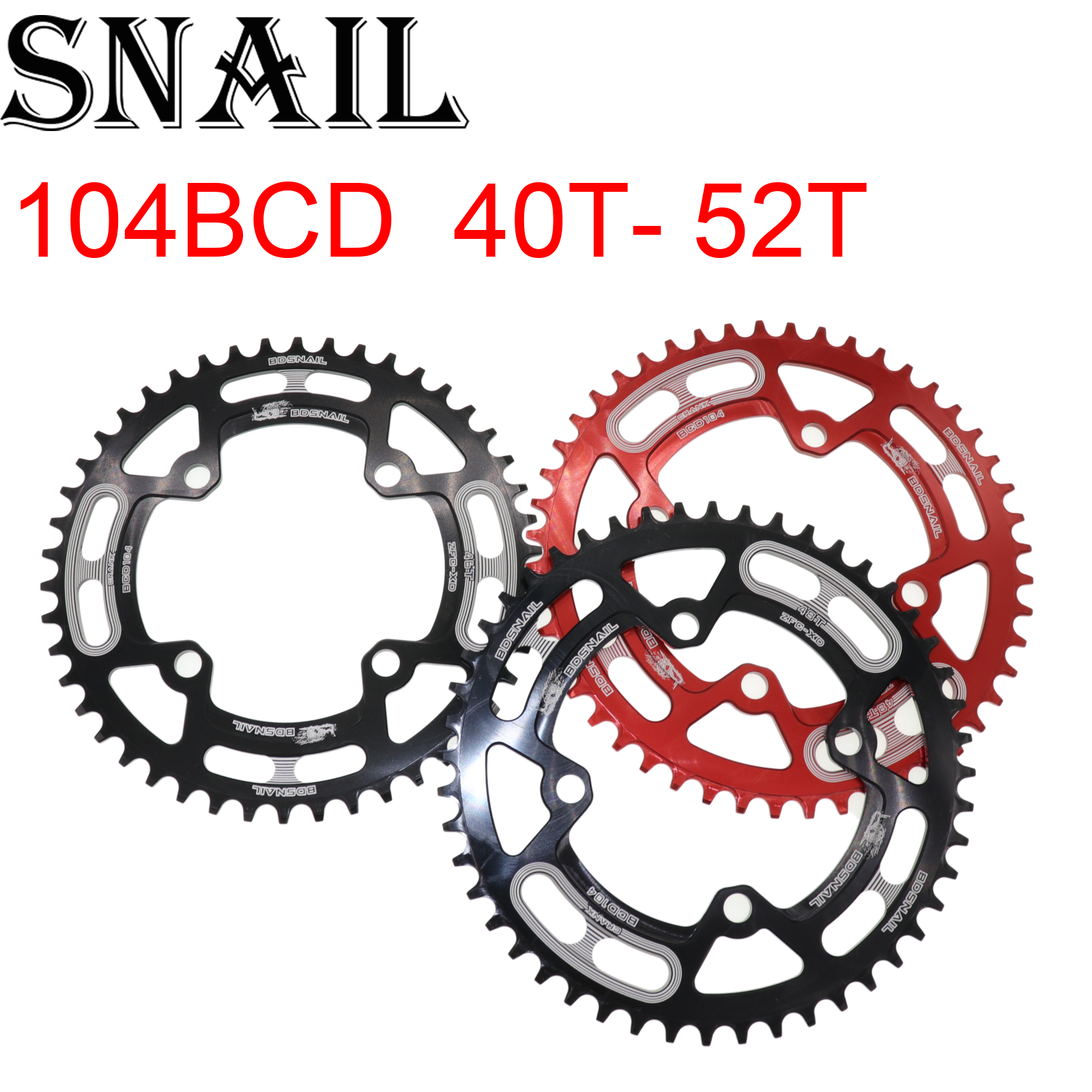 BDSNAIL 104BCD Crank Round Chainwheel MTB Road Bike Chainring Sprocket 44-52T