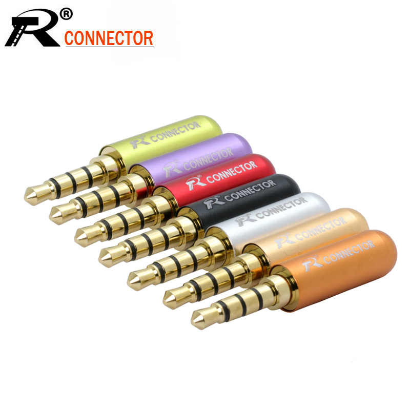 10 Pcs/lot Mini Jack 3.5 Mm 4 Tiang Male Plug Aluminium Shell Stereo 4Pin 3.5 Jack Konektor Kawat Heaphone Earphone plug