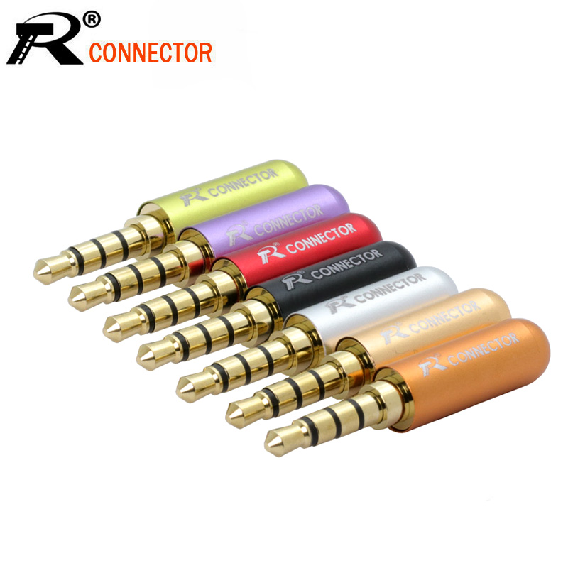 10pcs/lot Mini Jack 3.5mm 4 Poles Male Plug Aluminum Shell Stereo 4Pin 3.5 Jack Wire Connector Heaphone Earphone Plug