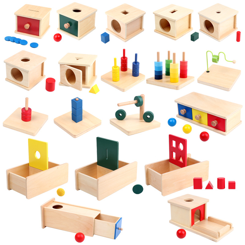 Toddler Wooden Sensorial Montessori Set Educational Toys Infant Toddlers Box Board Puzzles Teaching Wood Game And Toys Preschool