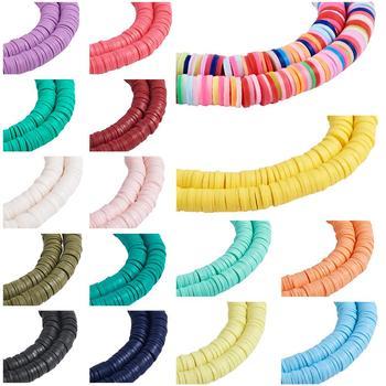 """Cuenta de arcilla polimérica redonda plana de colores mezclados, espaciadores de 4mm, cuentas de disco sueltas para fabricación de joyería DIY de 380 ~ 400 uds/hebra de 17,7"""""""