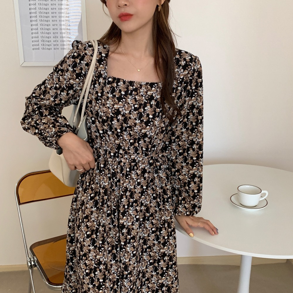 H3d0021dad0274d688d478b282625f81bN - Autumn Square Collar Lantern Sleeves Floral Print Midi Dress