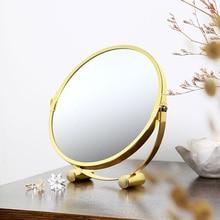 Простой Круглый Золотой Зеркало Для Макияжа Рабочего Стола Спальня Ванная Комната Студии Красоты Стол Косметический
