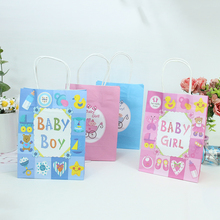 20pcs New Boy&Girl Kraft Paper Gift Bags Candy Bag Shopping Baby Shower Birthday Package Party Decor kids