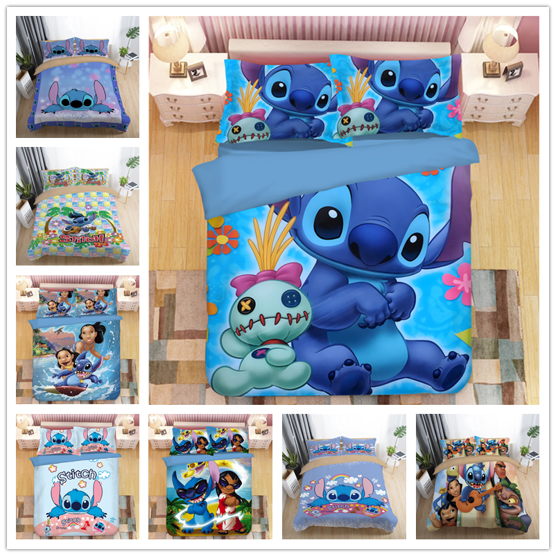3D Disney Home Lilo And Stitch Bedding Set Quilt Cover Twin Bedroom Decor For Kids Boy Girl Queen King Size Bedding Set