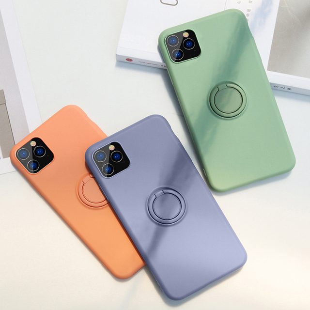 Luxury Soft Liquid Silicone Case For iPhone 11 Pro Max XS X XR 7 8 6 6S Plus SE 2020 Stand Ring Holder Cover iPhone11 iPhonex On 1
