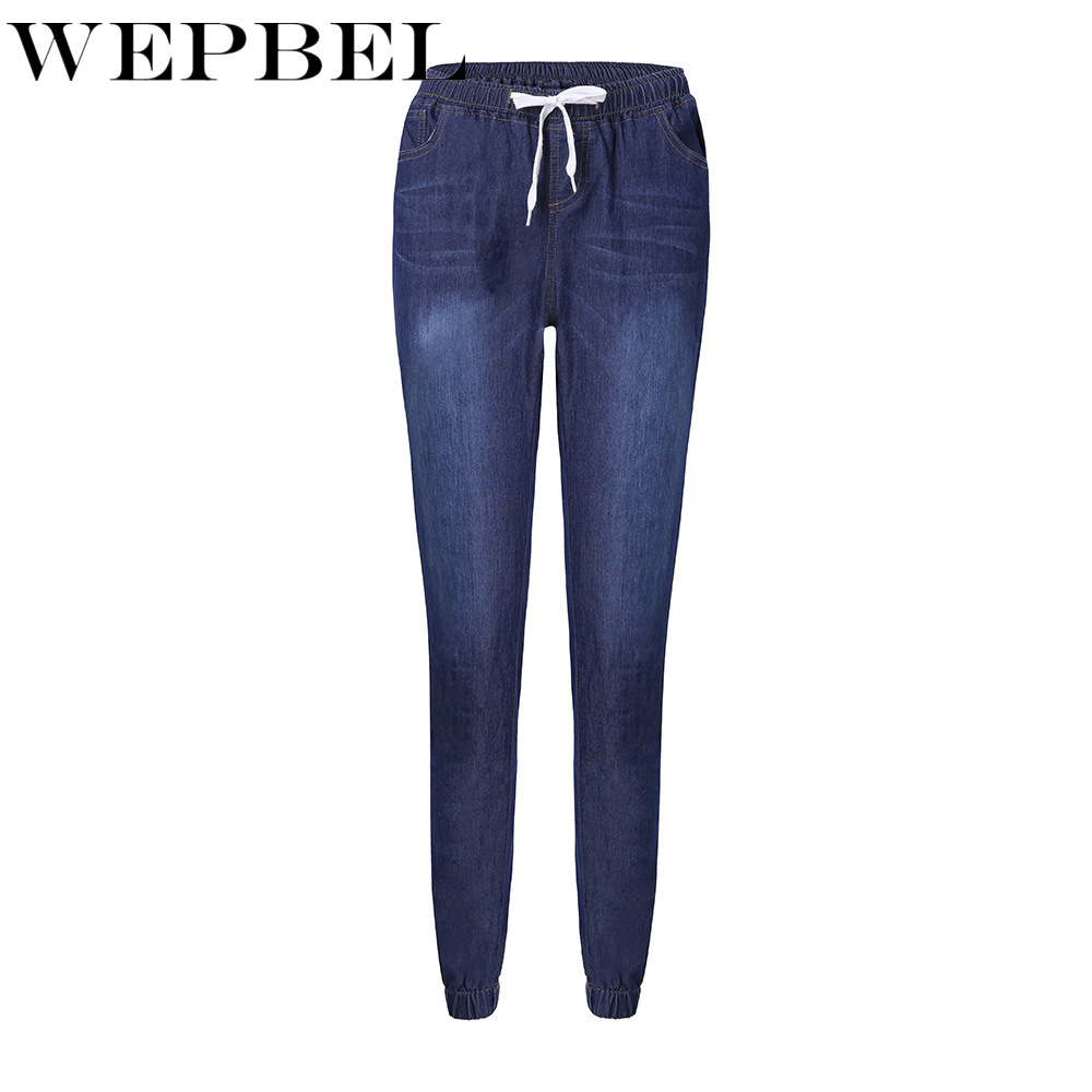 WEPBEL Women Jeans Long Lengh Pencil Denim Pants Washed Lace Up Trousers Solid Color Plus Size Jeans Streetwear S-5XL image
