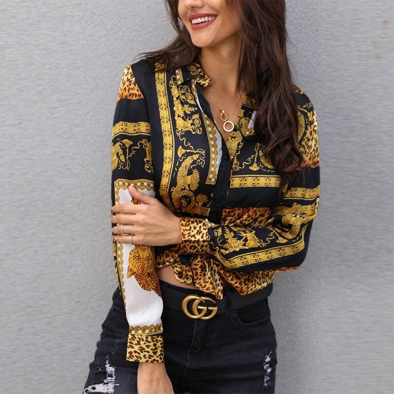 2019 Spring Women Leopard Print Knot Front Blouse Shirt Office Lady Elegant Turn-down Collar Long Sleeve Button Shirt Streetwear