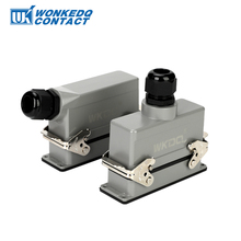 цена на Rectangular Heavy Duty Connector HDC-HE-06 Core Industrial Waterproof Aviation Plug Socket 16A 500V Top Line And Lateral Line