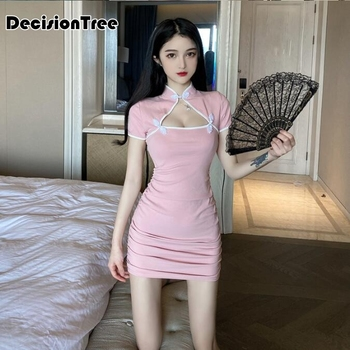 2020 chinese dress cheongsam sexy qipao halter backless hollow out perspective bodycon satin nightclub