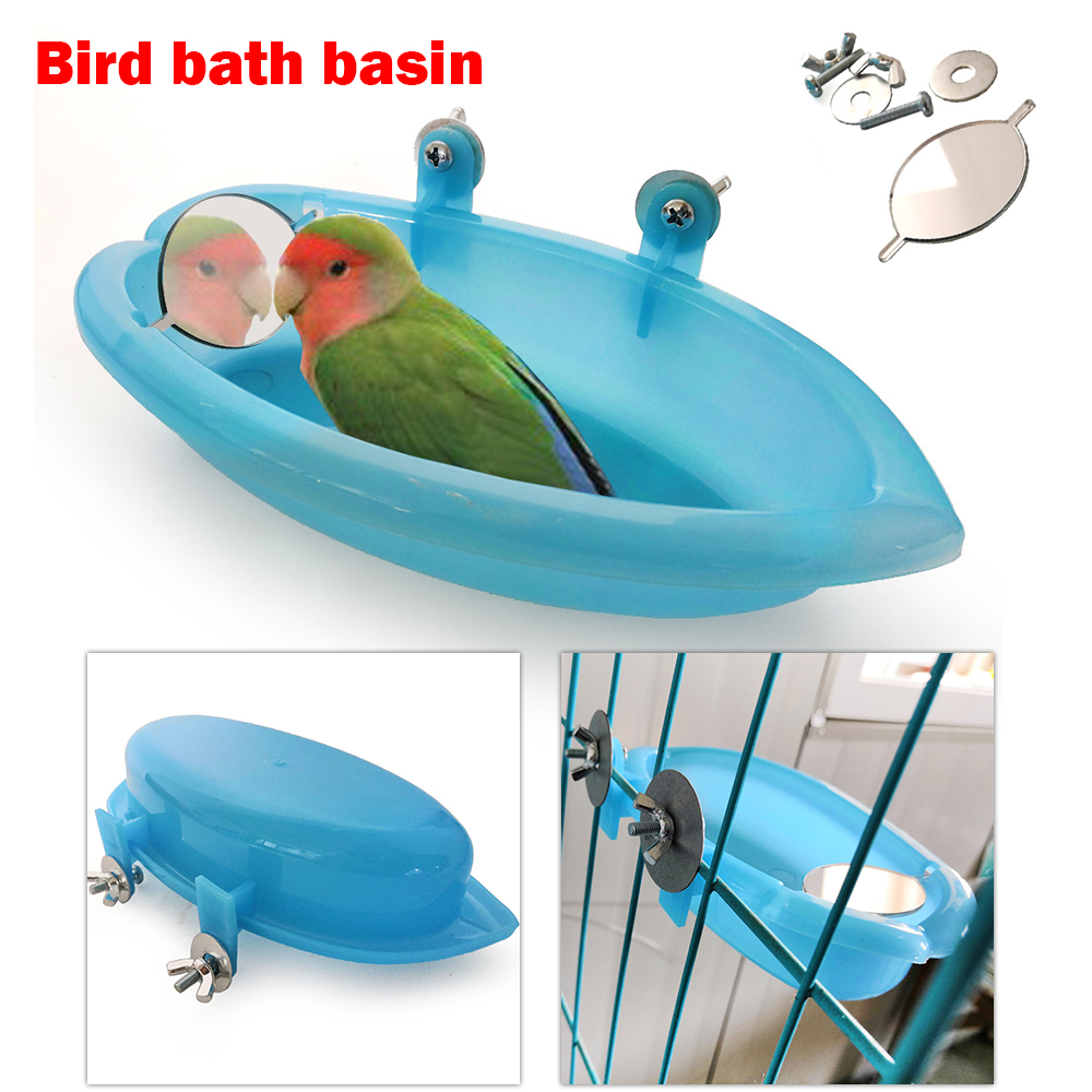 Plastic Bird Water Bath Box Bathtub Parrot For Parakeet Lovebird Bird Pet Cage Hanging Bowl Parakeet Birdbath Parrot Bath Shower