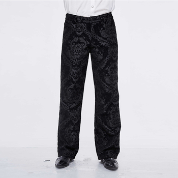Black Pants Causal Jacquard Premium Loose Fit Straight Leg Mid Waisted For Men Trousers Black Plus Size