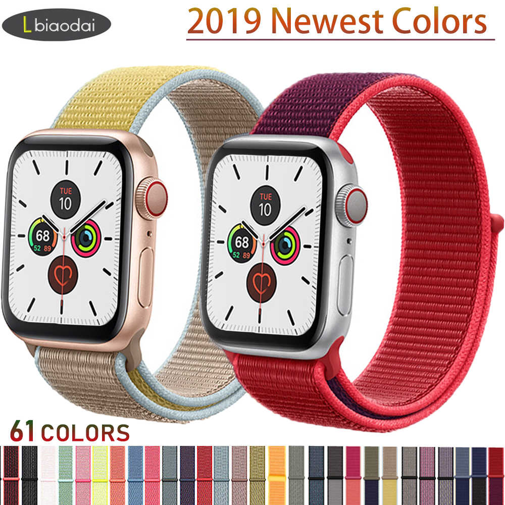 Tali Nilon untuk Apple Watch Band 44 Mm 40 Mm IWatch 4 5 Band 42 Mm 38 Mm Sport Loop gelang Sabuk Apple Watch 5 4 3 2 Aksesoris