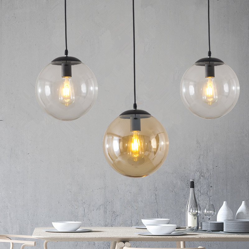 Glass Ball Pendant Lights Retro Loft Industrial Hanging Lamp Kitchen Led Suspension Luminaire Bedroom Home Decor Light Fixtures