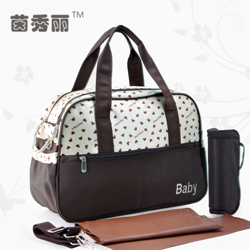 Love Dot Printing Baby Diaper Bags Multifunctional Mummy Big Handbag Nappy Stroller Bag Shoulder Messenger Maternity Bags 45 in Diaper Bags from Mother Kids