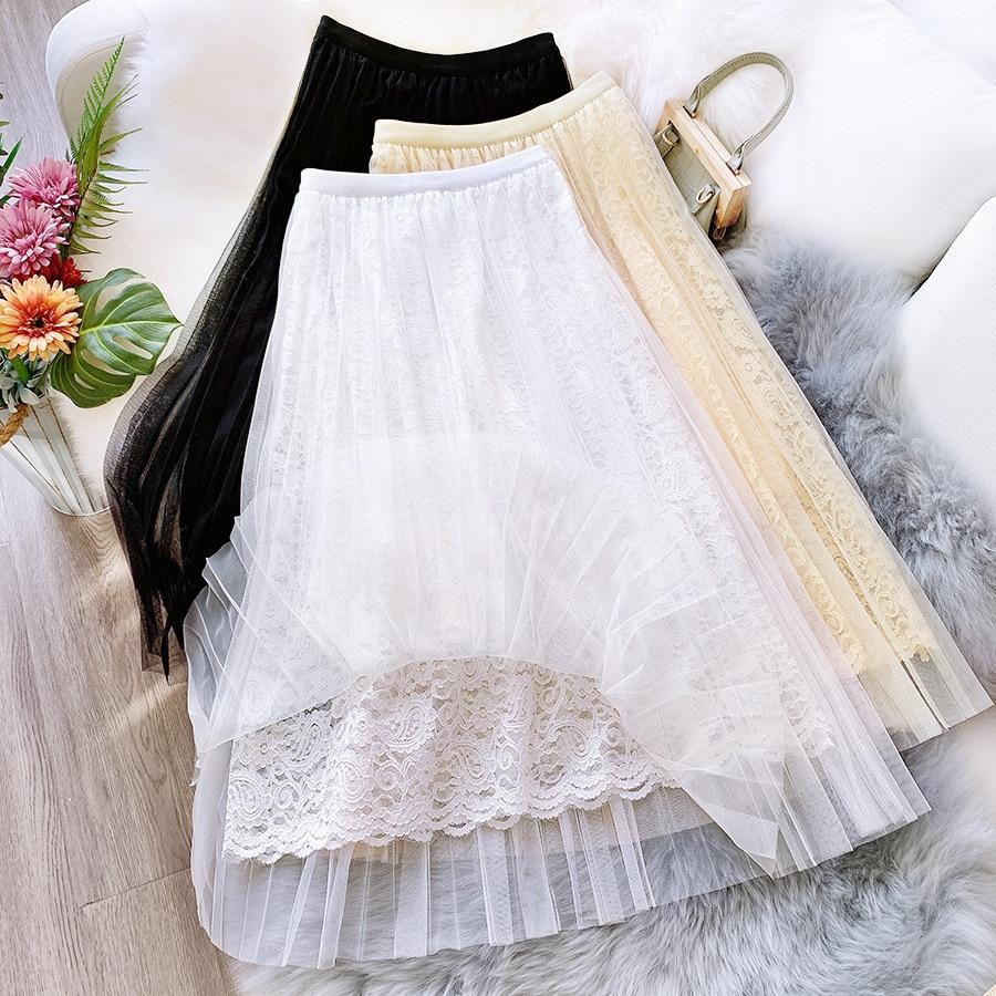 Sherhure 2020 Women Mesh Long Skirts High Waist Saia Inner Lace Crochet Women Elegant Boho White Long Skirt Faldas Jupe Femme