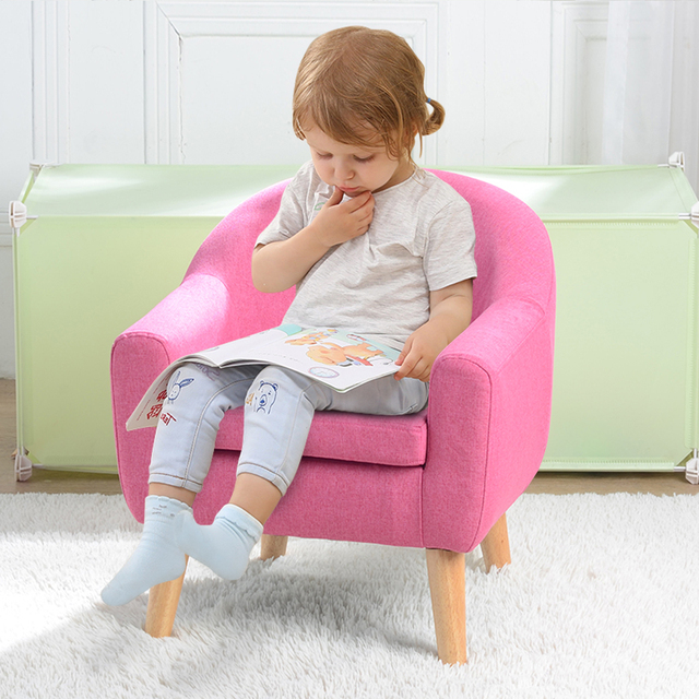 Children's Single Sofa with Sofa Cushion Removable and Washable for Children Kids Sofa Two Colors 2