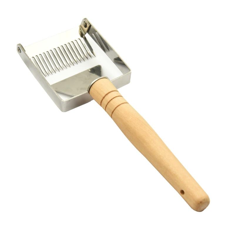 HOT!! Wooden Handle Needle Honey Knife Sparse Shovel Cutter Honey Scraper Bee Shovel Comb Uncapping Fork Beekeeping Tools