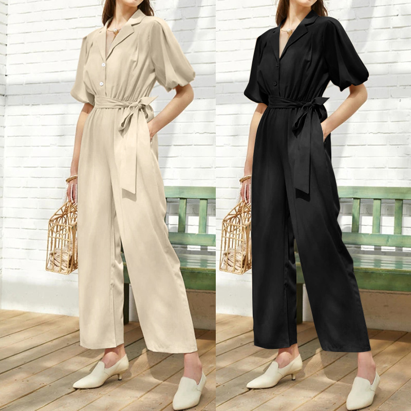 Women's Summer Jumpsuits Celmia Vintage Long Rompers Casual Loose Belted Female Overalls Solid Sexy V Neck Elegant OL Overalls