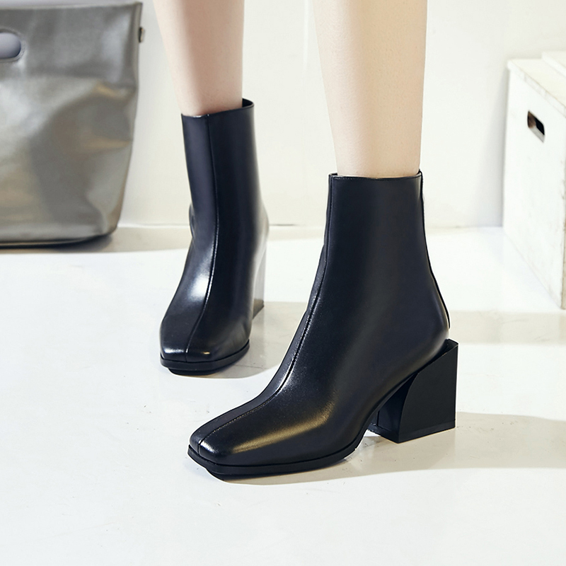 Image 4 - EGONERY women shoes newest genuine leather high quality high square heel zipper square toe fashion black and white ankle boots-in Ankle Boots from Shoes
