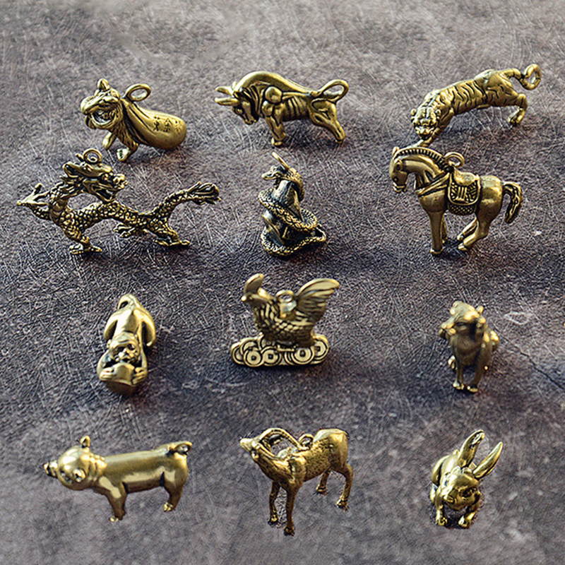 Brass Animal Statue Ornament Chinese Zodiac Rat Ox Tiger Rabbit Dragon Snake Horse Sheep Monkey Chicken Dog Pig Office Desk Deco