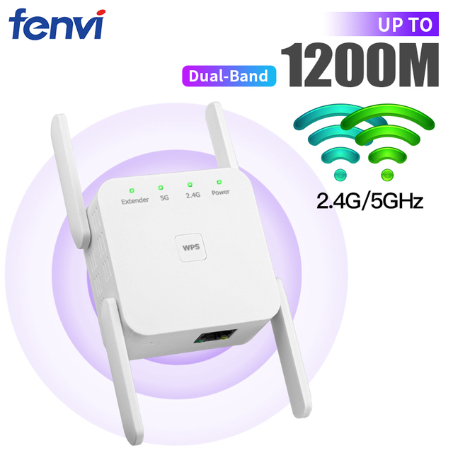 Fenvi Dual Band 5G Wireless WiFi Repeater 1200M Router Wi-Fi Booster 300Mbps Network Wlan Extender Signal Amplifier Access Point