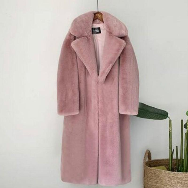 2021 New Women Winter Warm Faux Fur Coat Thick Women Long Coat Turn Down Collar Women Warm Coat Casaco Feminino 1
