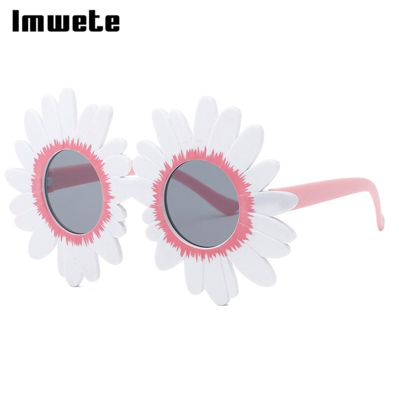Imwete Children Oversized Daisy Flower Lace Sunglasses Round Child Frame Adorable Decorative Sun Glasses For Girls Outdoor Party