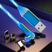 מגנטי כבל מיקרו USB סוג C מהיר טעינת טלפון זורם אור LED מגנט מטען עבור סמסונג iPhone 11 Huawei Xiaomi
