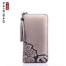 цена на 2019 New women genuine leather wallets designer brands fashion tassel embossing zipper long womens wallets leather clutch bags