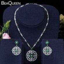 BeaQueen Green Cubic Zircon Women Big Round Drop Earrings And Necklace Bridal Jewelry Set For Nigerian Wedding Evening JS046