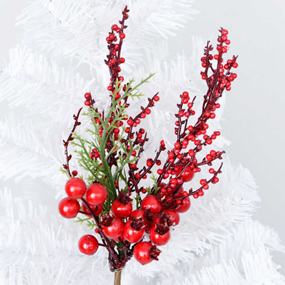 Christmas Artificial Red Berries Flower Branch For Home New Year Flower Arrangements Christmas Tree Ornaments Artificial Dried Flowers Aliexpress