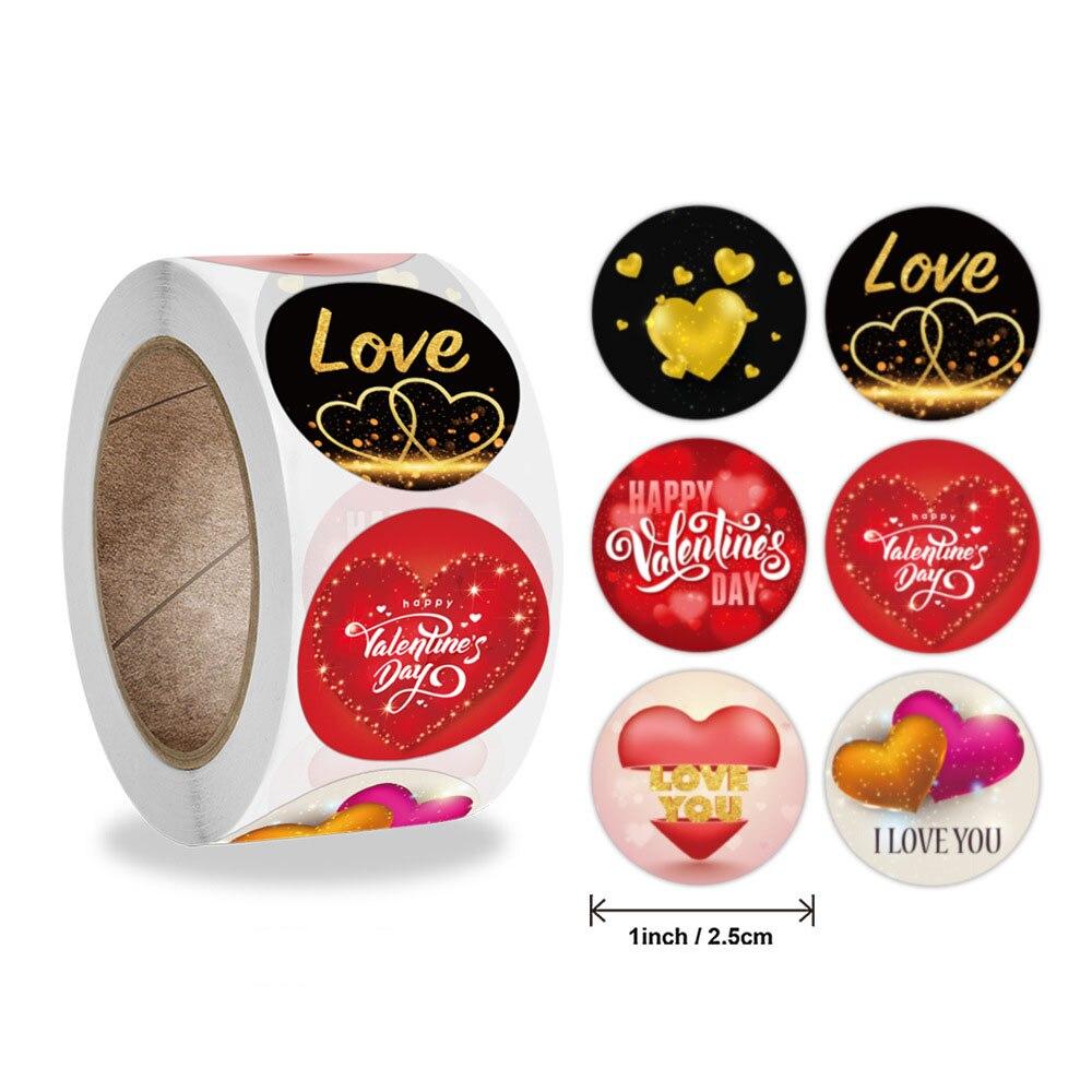 50-500 шт. наклейки на День святого Валентина, я люблю вас с сердцем, спасибо, герметичные этикетки, бирка для дня рождения ручной работы, сувени...