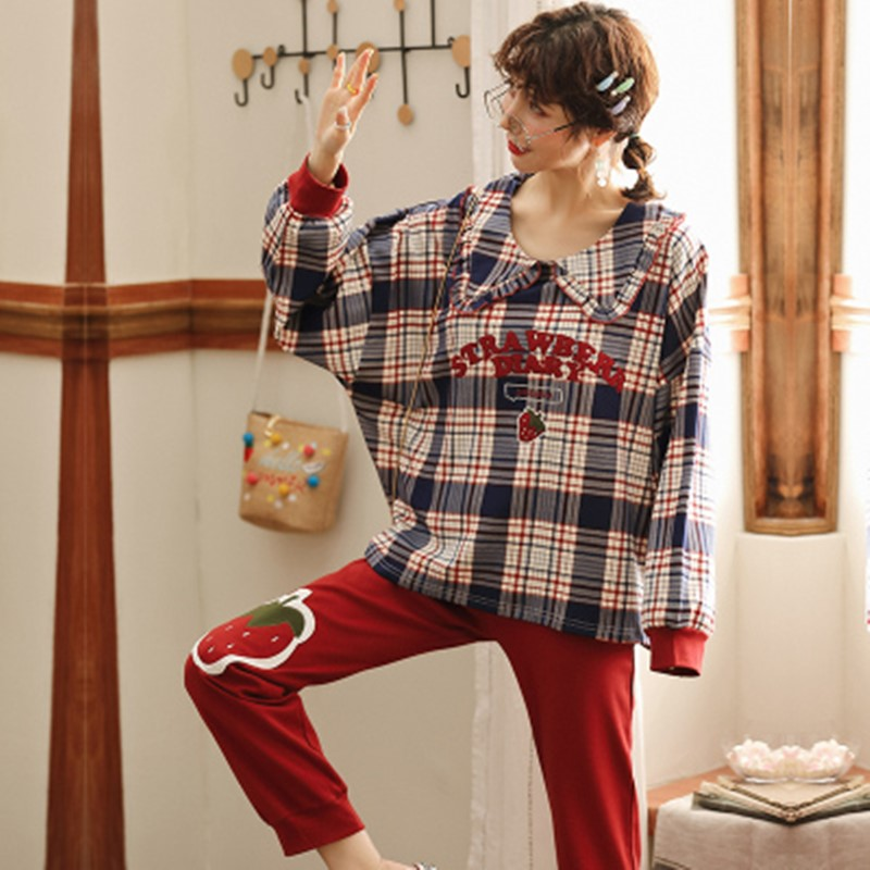lovely princess wind autumn and winter Plaid baby collar home clothes Pajama women's spring and autumn pure cotton long sleeve