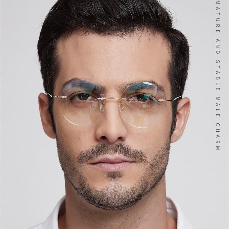 Lightweight Titanium Alloy Rimless Round Glasses For Men And Women Circle Optical Prescription Eyeglasses Frame Oculos De Grau