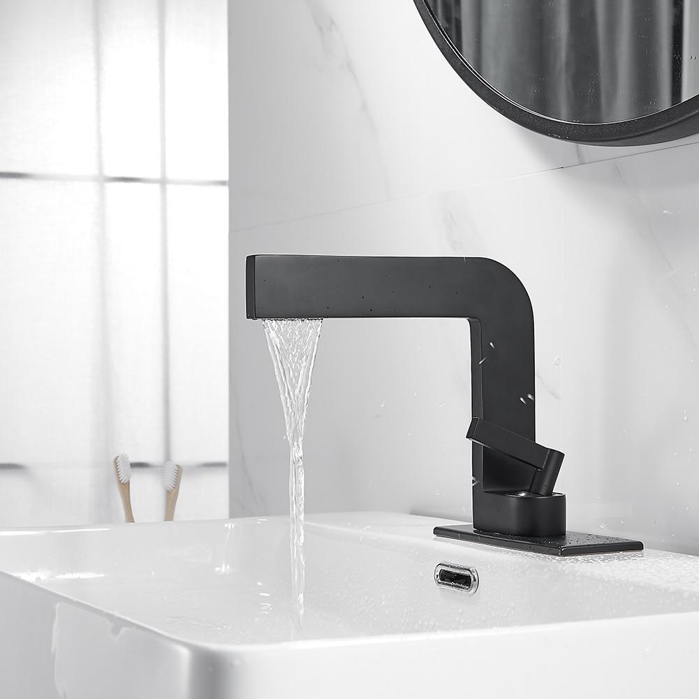 Basin Faucet Modern Black Bathroom Sink Mixer Tap Brass Chrome